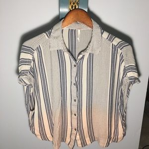 Free People Ombré Button Up Short Sleeve Small